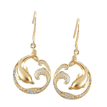 YELLOW GOLD ON SOLID 925 SILVER HAWAIIAN DOLPHIN OCEAN WAVE CZ HOOK EARRINGS