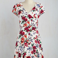 Mid-length Short Sleeves A-line Botanical Breakfast Dress in White Bouquet