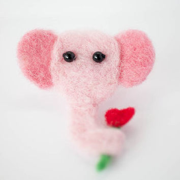 Elephant Brooch, Needle Felted Pink Elephant Pin, Cute Handmade Novelty Jewelry