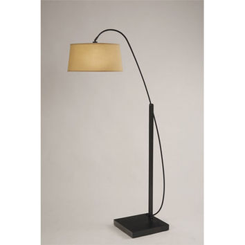 NOVA Lighting 2110393 Pitch Black Matte One-Light Arc Lamp with Tan Linen Shade