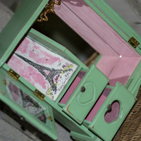 Vintage Hand Painted Green Jewelry Box