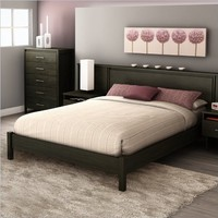 South Shore Gravity Collection Queen Platform Bed, Ebony
