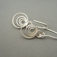 Sterling Silver Spiral Circle Earrings | The Silver Forge Handcrafted Jewellery