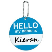 Kieran Hello My Name Is Round ID Card Luggage Tag