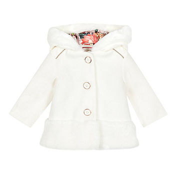 545fbd20ddc955 Baker by Ted Baker Baby girls  off white faux fur edge dress coat- at