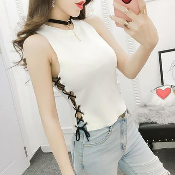 Summer Women Slim Knitting Camisole Crop Tops Female Bodycon Knitted Sided Lace Up Tanks Sleeveless Short Tee shirts  BH2746