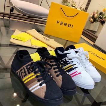 DCCK Fendi Women's Leather Fashion Sneakers Shoes