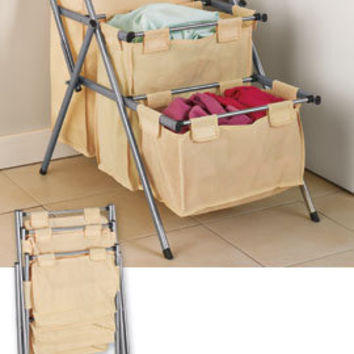 Folding 3-Tier Hamper, Laundry Organizer, Clothes Hamper | Solutions