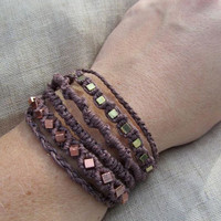 Copper and Gold Macrame Hemp Bracelet  by PerpetualSunshine111