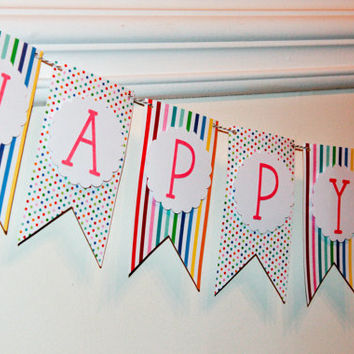 Happy Birthday Banner / Stripes & Dots / Rainbow Banner / Party Decor