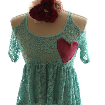 Lace shirt, romantic cottage heart top, shabby heart top, altered clothing, country chic clothing, boho, true rebel clothing