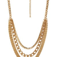 FOREVER 21 Multi-Chain Necklace Gold One