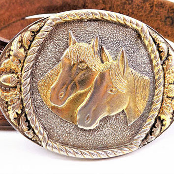 Western Horse Belt Buckle, Sunset Brass, Made in USA, Solid Brass Cowboy Buckle, Vintage Accessory