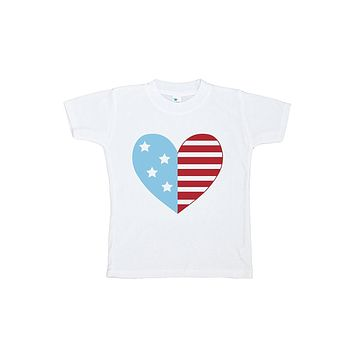 Custom Party Shop Kid's Flag Heart 4th of July T-shirt