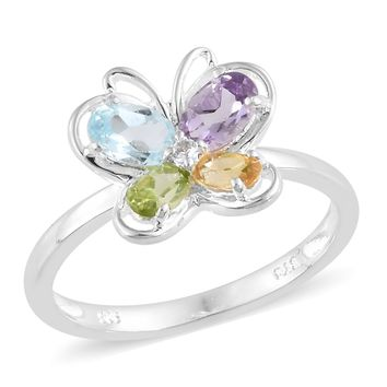 Topaz Citrine Amethyst Peridot Butterfly Sterling Silver Ring