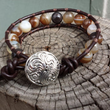 Boho Brown Striped Agate Beaded Brown Leather Wrap Bracelet Handmade Jewelry Bohemian Jewelry Fashion