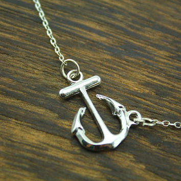 the antique silver anchor necklace  Viking symbol inspired bestfriend jewelry