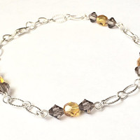 Beaded Metal Anklet, Swarovski Jewelry, Yellow Topaz, Silver Tone Anklet