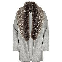 Grey jersey faux fur trim jacket