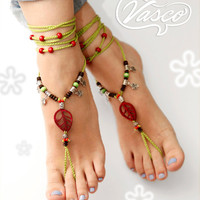 Barefoot Sandal. Bellydance Shoes, Gypsy Shoes. Hippie Toe Anklet