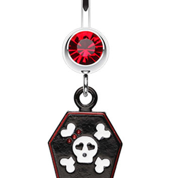 Skull & Crossbones Coffin Belly Button Ring