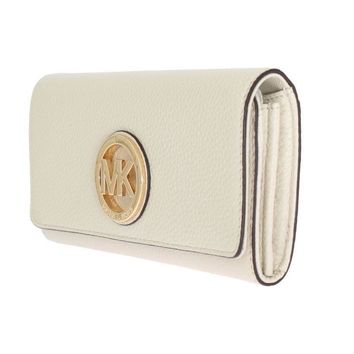 Michael Kors MK White Leather FULTON Continental Wallet Purse Zip Around