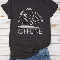 Offline Tree Lake Wifi T-Shirt - Bellelily