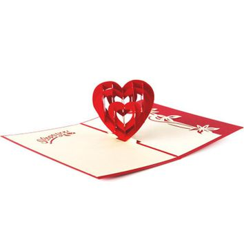 3D Pop Up Birthday Greeting Postcards Gift Cards Custom Laser Cut Heart Blank Vintage  Marriage Love Letters Messages Paper