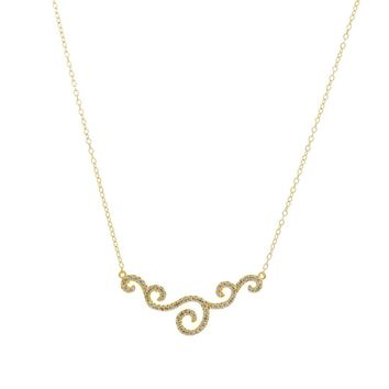Gold Over Sterling Silver Fancy CZ Swirl Bar Necklace