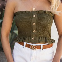 Hope Olive Buttoned Crop Top