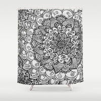 Shades of Grey - mono floral doodle Shower Curtain by micklyn