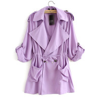 Loose Lapel Chiffon Long Windbreaker Coat