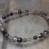 Black and Silver Glass Bead Anklet