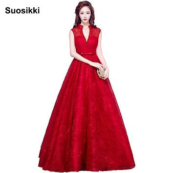 Suosikki 2017 New arrival Lace Elegant high neck Prom Dresses Long  A-line Evening party gown robe de soiree