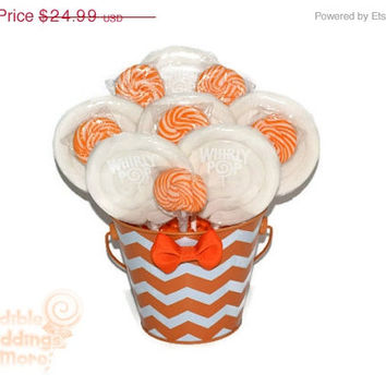 ON SALE: Orange and White Chevron Lollipop Arrangement, OOAK Candy Arrangement, Candy Centerpiece,Orange, White, Gift, Candy Buffet, Birthda