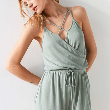 Silence + Noise Surplice Cross-Front Romper | Urban Outfitters