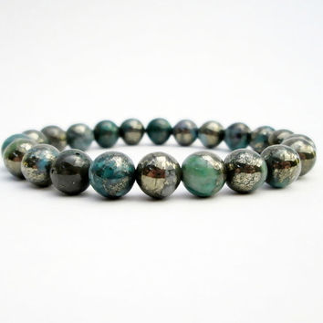 Green Pyrite Inclusions Quartz Bracelet Bead Bracelet Gemstone Bracelet Mens Womens Bracelet Yoga Bracelet Gifts Under 50