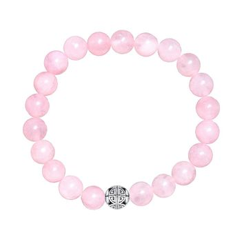 Natural Gemstone Rose Quartz Beads Elastic Charm Bracelet Solid 925 Sterling Silver Double Luck&Long Life Silver Bead for Unisex
