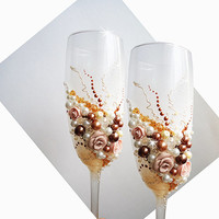 Ivory and Gold Brown Beige Hand Decorated Wedding Anniversary Champagne Glasses Toasting Flutes Pearls Flowers Roses by Elena Joliefleur