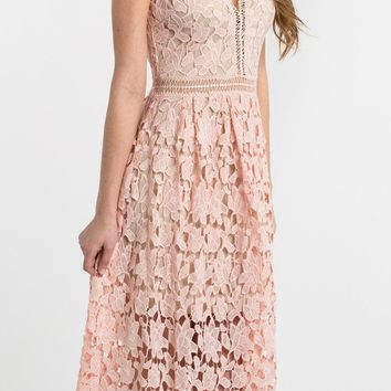 Isabella Pink Lace Crochet Midi Dress