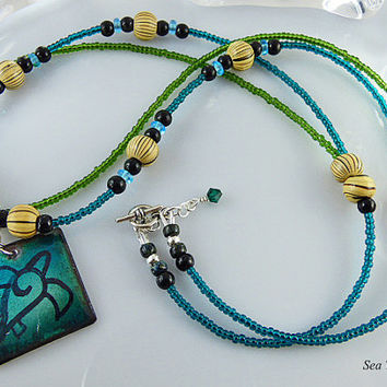 22 inch Blue Green Beaded Double Strand Pendant Necklace, Blend of Gemstone Wood & Glass Beads, Enamel On Copper Sea Turtle Design Pendant