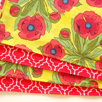 Large Cloth Placemats - Set of 4 - Red Tile Pattern and Red Yellow Poppy - Variety, Assorted, Mismatched - Reversible
