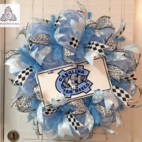 UNC (University of North Carolina) Tarheels Deco Mesh Wreath