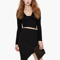 Black Long Sleeve Casual Cropped Top