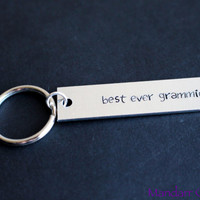 Keychain for Grandma, Best Ever Grammie, Hand Stamped Aluminum Key Chain, Juniper Font
