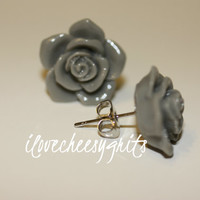 DOVE GRAY ROSE~  Flower Earrings, Daughter Earring, Flower Girl Gift, Mother's Day Gift, Spring Fashion, Pastel Earring, ilovecheesygrits