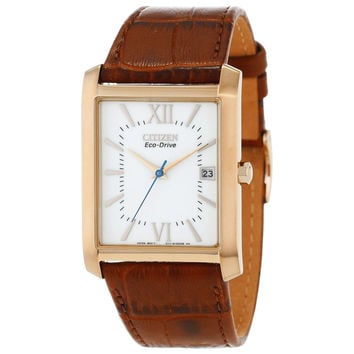 Citizen BM6788-05A Men's Eco-Drive White Dial Rose Gold Steel Brown Leather Strap Watch