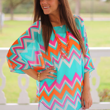 Just Wing It Top, Turquoise