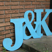 3 Initial Wood Monograms Customized for your Wedding.  18 inches tall.
