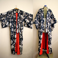 Vtg KIMONO, Blossoms and Branches Japanese Floral Print..Robe..Duster